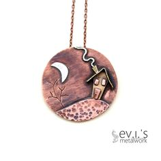 Moon House Tree 3Layer Pendant Necklace Sterling by evismetalwork, €44.00