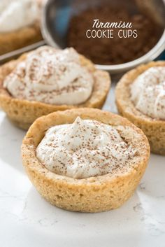Tiramisu Cookie Cups - these easy from scratch sugar cookie cups are filled with my favorite tiramisu mousse! My family loved them!