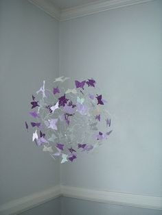 Modern Mobile Purple, Lavendar and Silver Butterflies