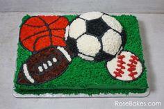 Sports Balls Birthday Cake Buttercream Sheet Cake Soccer Baseball Basketball Football