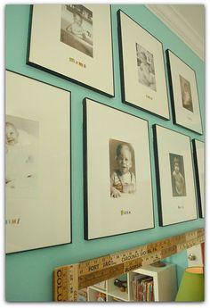 Love this idea for a child's room.  A photo of each of their parents, grandparents, etc. as toddlers.