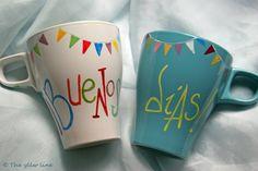 THE YLLW LINE: Tazas de desayuno pintadas a mano. Sharpie Projects, Sharpie Art, Mugs Cafe, Painted Mugs, Posca, Cute Mugs, Pottery Painting, Decoration, Tea Party