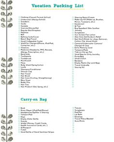 Vacation packing list...it's got everything you can think of and blank spaces for anything personal or  specific