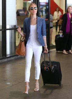 White jeans, Chambray blazer, Hermes Birkin Bag, Leale heels by Kristin Cavallari for Chinese Laundry