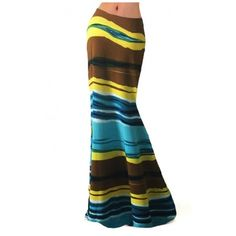 Women's Casual Striped Color Block High Waist Stretch Maxi Skirt... (53 BAM) ❤ liked on Polyvore featuring skirts, white skirt, high waisted long skirt, striped maxi skirts, stretch maxi skirt and high waisted maxi skirt