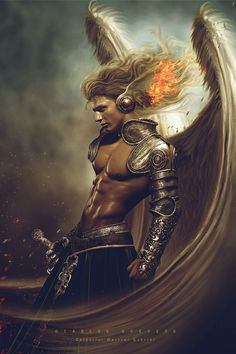 Now that would be a cool way to see Branan in 'The Tiefling: Angel Kissed, Devil Touched'. Celestial Warrior Gabriel by Carlos-Quevedo on deviantART Elfen Fantasy, Fantasy Anime, Fantasy Male, Fantasy Kunst, Fantasy Warrior, Archangel Gabriel, Archangel Michael, Angels Among Us, Angels And Demons