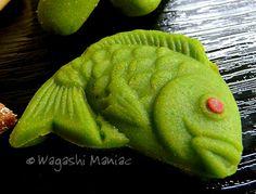 Suhama, wagashi made from green kinako, soybean flour.