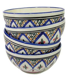 Stoneware Tabarka Soup & Cereal Bowl - Set of Four