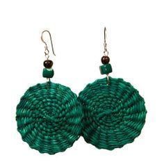 Green Earrings - Iraca Fiber by Randall V Designs Green Earrings, Seed Bead Earrings, Unique Earrings, Boho Earrings, Boho Green, Paper Jewelry, Ceramic Beads, Ethnic Jewelry, Hand Weaving