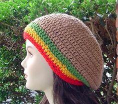Smaller Brown with Jamaica Stripes Tam short by PurpleSageDesignz (Accessories, Hat, Beanie, cap, crochet, rasta, dreads, black, adult, hippy, snood, crown, kufi, beret)