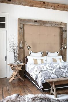 reclaimed barn beams as headboard