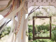 """interesting... might be a cheaper way to decorate the gazebo. and the hanging frame is a cute idea for a mock """"photo booth"""""""