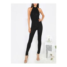 SheIn(sheinside) Black Sleeveless Backless Jumpsuit ($17) ❤ liked on Polyvore featuring jumpsuits, black, summer jumpsuits, sleeveless jumpsuit, backless jumpsuits and jump suit