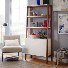 inspired by modernism our modern cabinet bookcase pairs a sleek body with a pecan