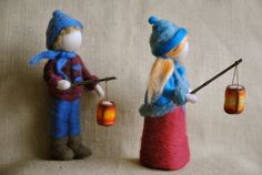 Waldorf inspired needle felted girl : The Lantern by MagicWool