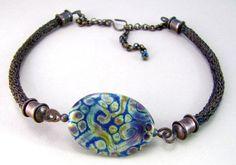 Colorful Lampwork Focal Bead in Copper Viking by BrackenDesigns, $115.00