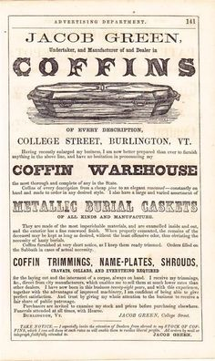 1865 Coffin Burial MORTICIAN Funeral E G Lamson Advertisement Engraving. http://www.thefuneralsource.org/history.html