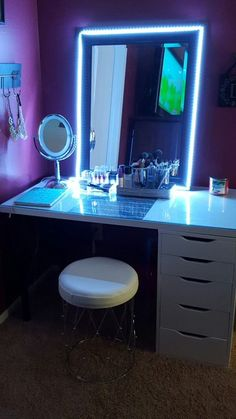 Ready for a room makeover? LED Strip Lights for your room with 300 color options. in length. Enough for starting a new room set up! Built In Dressing Table, Dressing Tables, Dressing Rooms, Deco Led, Vanity Room, Mirror Vanity, Lighted Vanity Mirror, Table Mirror, Mirror Mirror