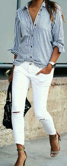 White jeans and heel