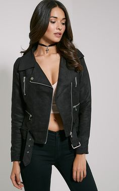 PRETTY LITTLE THING - Ivona Black Faux Suede Biker Jacket, Black -…