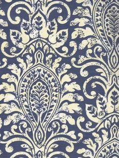 Navy Damask Wallpaper - WALLPAPER - DAMASKS/SCROLLS - BLUES AND AQUA - Navy and Beige Damask Wallpaper - Classic Wallcoverings