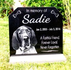 Black Granite Stone WITH Outdoor/Indoor Heavy Composite Base Stand. -----------12 X 6 or 12 x 11 Inch Memorial Head Stone.---------  Sadie style is shown in 12 x 11 inch stone. Photograph above is an actual etching on stone. ( not a computer generated image)  Visible from a distance and upright. Beautiful Standing Headstone with stone look composite base stand will never need replacing and will provide a lifetime of beauty. Granite stone slides right into the base. This marker wont need ...