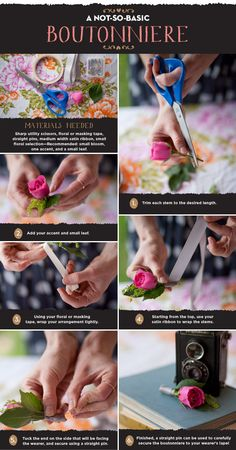 Boutonniere - How to (would hot glue ribbon at the end though)
