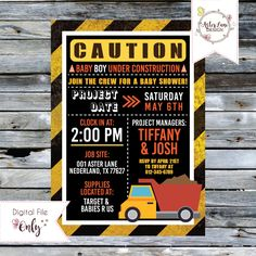 """Baby Shower Invitation // Construction Themed// 5""""x7"""" // Personalized Digital Printable by AsterLaneDesign on Etsy https://www.etsy.com/listing/513294318/baby-shower-invitation-construction"""