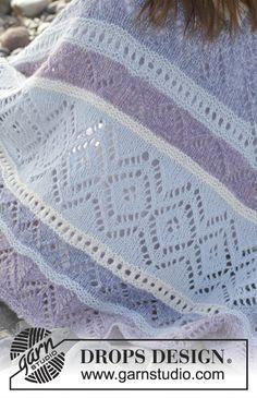 Liljesjal / DROPS - Free knitting patterns by DROPS Design, Free knitting instructions. Lace Knitting Patterns, Arm Knitting, Knitting Stitches, Knitting Socks, Drops Design, Knitted Afghans, Crochet Shawl, Knit Crochet, Magazine Drops
