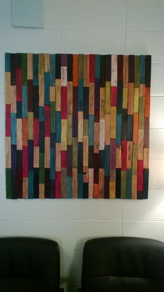 Waiting Room Art: This piece is made completely of painted and stained wood shims. I love working with shims! They are so mundane yet so versatile! Diy Artwork, Diy Wall Art, Wood Wall Art, Creative Wall Painting, Creative Walls, Wood Turning Projects, Diy Wood Projects, Woodworking Projects, Woodworking Store