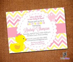 Girl Rubber Ducky Baby Shower Invitation Girl by ZoeyBlueDesigns, $10.00