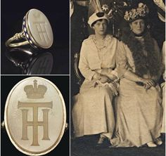 Tatiana Romanov's Signet Ring. The letters stand for T (Russian T for Tatiana) and H (Russian N for Nikolayevna).