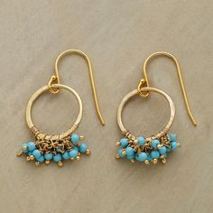 """TURQUOISE FRINGE EARRINGS--A luxuriant fringe of turquoise seed beads embellishes 24kt goldplate hoops. French wires. Handmade in USA exclusively for us. 1-1/8""""L."""