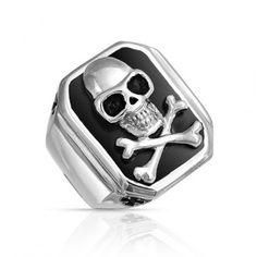 Mens Skull and Cross Bones Ring in Stainless Steel