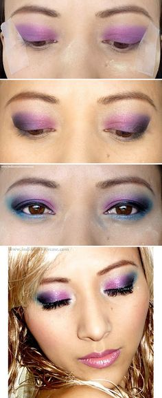 Multi-Color Eyes Makeup/ using tape to make perfect lines... good tip!