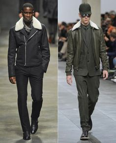Men's shearling bombers at Hermes and Dior Homme, F/W '12