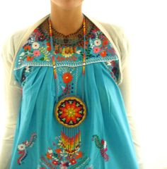 Turquesa colorful embroidered Mexican dress. $98,00, via Etsy.