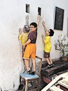 Another wall art in Penang. How many real kids are there? Costa Victoria, Mural Art, Wall Art, Penang Island, George Town, Singapore Travel, Outdoor Sculpture, Southeast Asia, Street Art