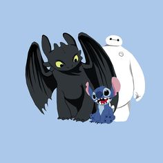 CUTIES!!!!!! XD :D :) ^_^ ^.^ ♡ Toothless with Stitch and Baymax ^.^ ♡