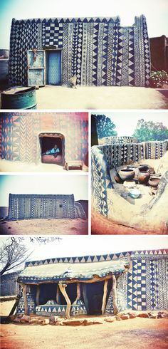These unique homes and mausoleums can be found in a small West African village called Tiébélé. Not many have traveled to this remote location, leaving much left up to our imagination about its people and their lifestyle. Regardless, their intricate embellishment and schematic decoration has left out pattern senses tingling!