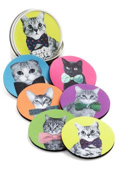 Housecat Party Coaster Set. Gathering your best buds for beverages? #multi #modcloth