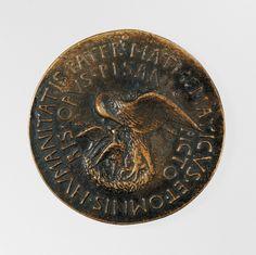 Pisanello (Antonio Pisano) (Italian, Pisa or Verona by 1395–1455), Portrait medal of Vittorino Rambaldoni da Feltre (obverse); A Pelican (reverse), model 1446–47 (possibly cast 15th or 16th century). Bronze (yellowish copper alloy with brown patina and traces of black lacquer or wax). Diam. 6.5 cm, wt. 107.27 g. Robert Lehman Collection, 1975, 1975.1.1302 © 2000–2016 The Metropolitan Museum of Art.