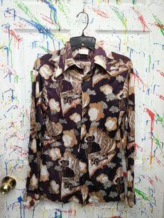 Men's vintage long sleeve button down nylon polyester disco pimp shirt size Medium Maroon Tan Old car Motif 1970s by RagsAGoGo, $25.00