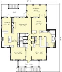 I would make the breakfast room and LR one big family room.  Fireplace/TV would go in the middle of windows.  Add structure beams where necessary.  2569 sf