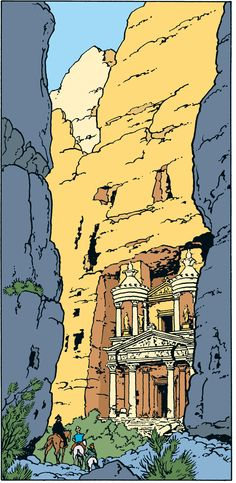 discovering lost worlds... from Prisoners of the Sun (i'm pretty sure) Album Tintin, Captain Haddock, Herge Tintin, Comics Illustration, Illustrations And Posters, Comic Art, Comic Books, Ligne Claire, Indiana Jones