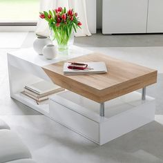 Hope storage coffee table in sawn oak with white drawers - 19915 shop online for contemporary wooden coffee tables at furniture in fashion in various finishes. Centre Table Living Room, Center Table, Tea Table Design, Room Partition Designs, Table For Small Space, White Drawers, Coffee Table With Storage, Modern Coffee Tables, Small Living Rooms