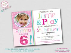 Jump and Play Bouncy Party Invitation (Digital Printable File - Cardstock Cards Also Available). $18.00, via Etsy.