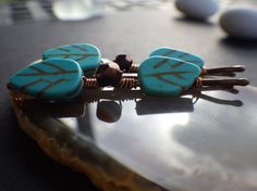 Turquoise Howlite Leaf Beads Copper Glass Faceted by CassieVision