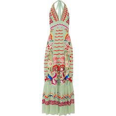 Temperley London Chimera embroidered silk-chiffon maxi dress ($2,750) ❤ liked on Polyvore featuring dresses, maxi, mint, maxi dresses, halter dress, green necktie, neck-tie and mint maxi dress