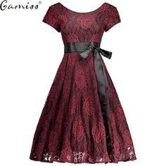 Vintage Floral Lace Long Sleeve Retro Style Rockabilly Swing Dress